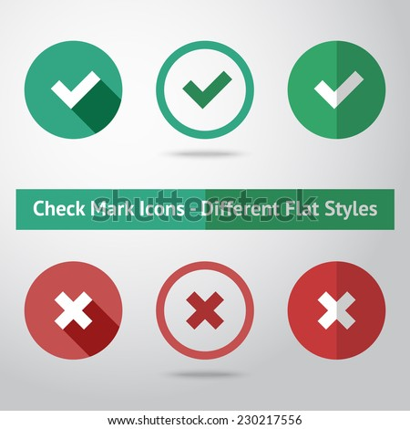 Flat check marks set. Different kinds of flat style. Vector