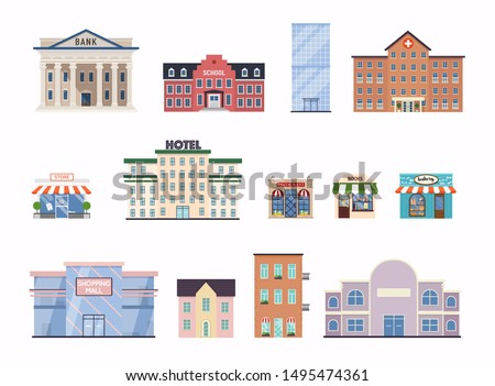 Flat city buildings. School, bank, shop, contemporary office center, hospital facade and city hall building.