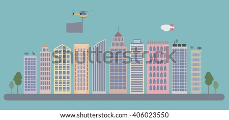 flat city landscape with