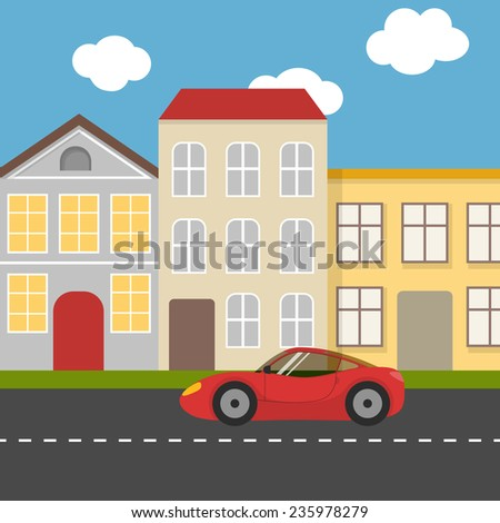 Flat city street with red sports car