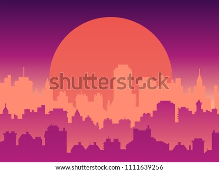 Flat cityscape with sunset sky and sun, modern city skyline flat panoramic vector background.