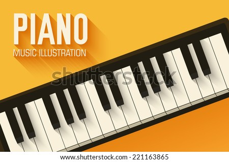 flat classic piano poster
