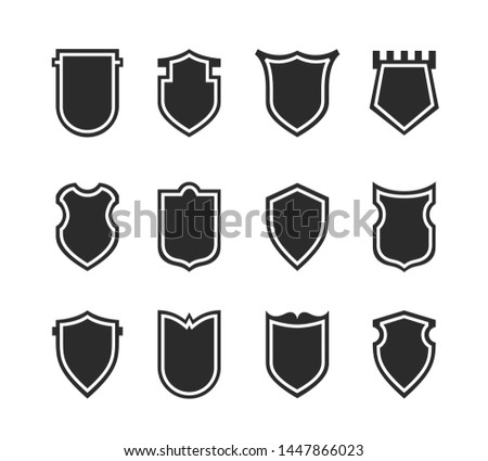 Flat Clip art Design Elements. Set of Vector set of Shield Silhouette. Different Coat Arms signs