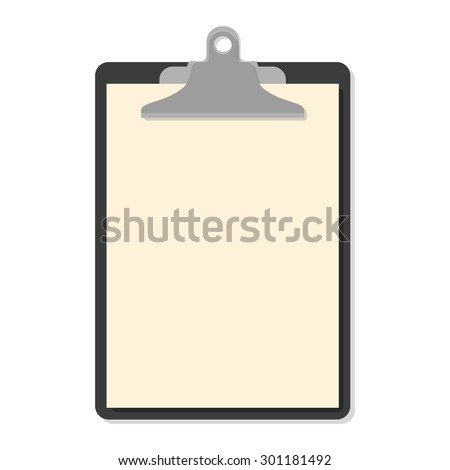 Flat clipboard with paper sheets on white. Vector illustration. Flat mockups for website design, infographics, web and mobile services and apps.