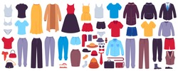 Flat clothes. Women and men garments, accessories, footwear and bags, fashion seasonal wardrobe, modern casual outfits showroom, vector set. Underwear, outerwear for female and male characters