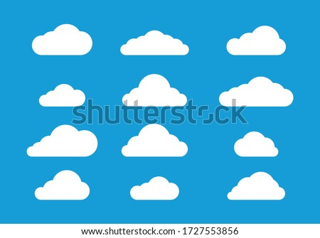 Flat cloud design on blue background, Icon clouds vector set, Graphic cloudy concept