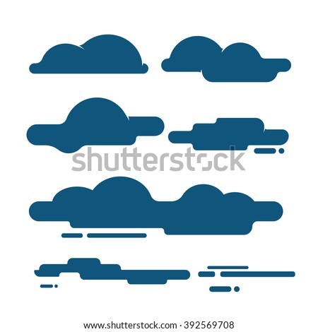 Flat Clouds icons, illustrations, symbol