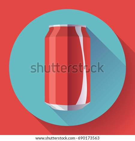 flat cola can soda can vector