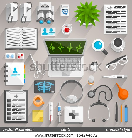Flat collection medical icon style, Technology set 5, Vector illustration