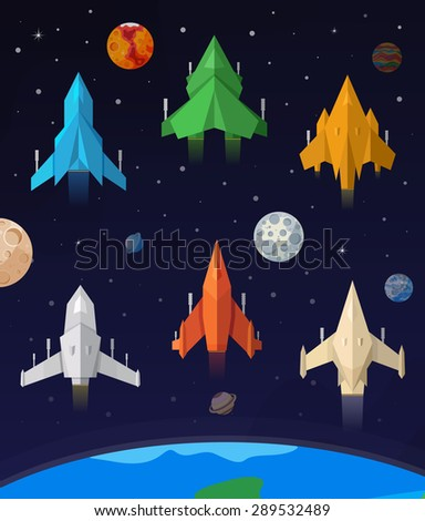 flat collection of spaceship