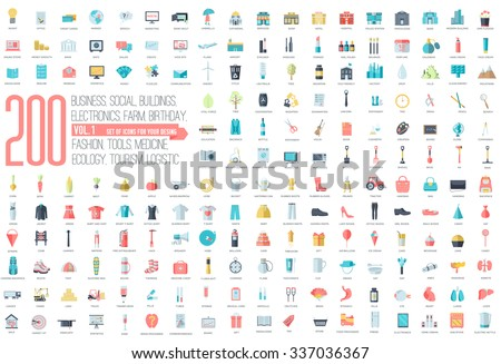 Flat collection set icons of business, social, eco, bank, farm, fashion, tool, medicine, travel, candy, logistic, make up, training, office, skill, fruit, rescue, startup. For infographic illustration