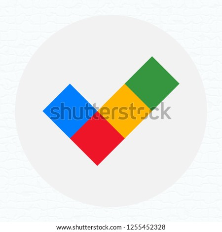 Flat color check mark OK isolated on a light background. Play store icon. Web button. Vector illustration