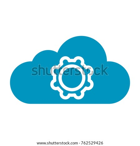 flat color cloud setting symbol icon