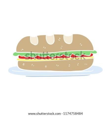 flat color illustration of sub sandwich