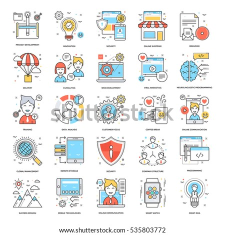 Flat Color Line Icons 12