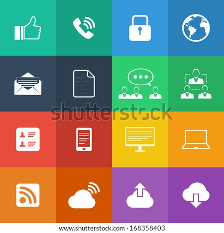 Flat Color style Internet icons vector set.