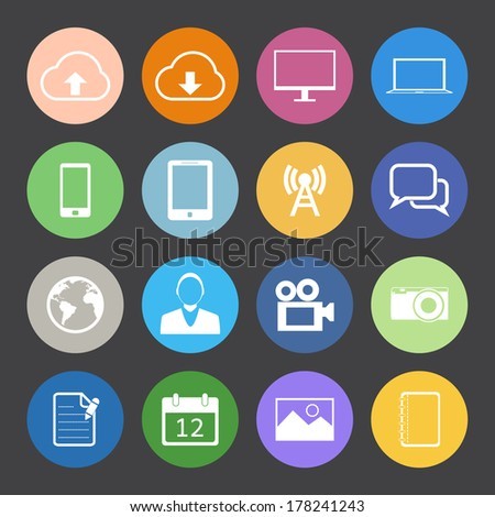 Flat Color style mobile phone vector set.