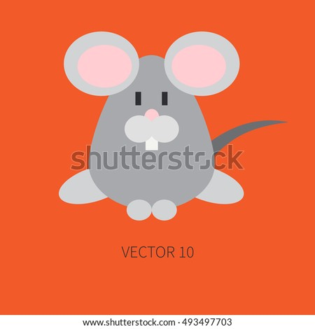 Flat color vector icon with cute animal for baby products - mouse. Cartoon style. Childrens doodle. Babyhood. Newborn. Vector illustration and element for your design, wallpaper. Zoo. Kids. Farm. Toy.