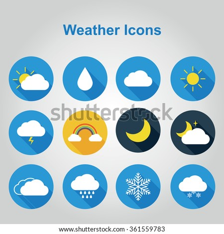 Flat color weather icons. Vector illustration of flat color weather icons with long shadow.