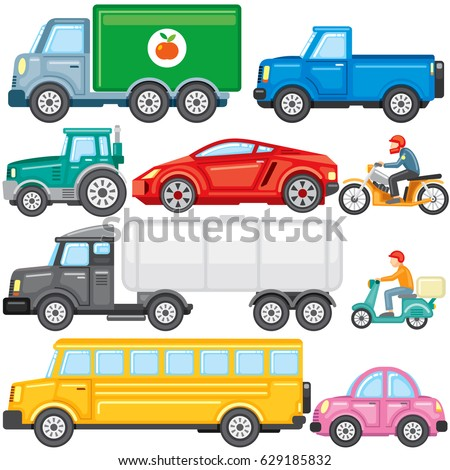 flat colored cartoon cars