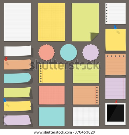 Flat colored paper notes, stickers and labels, vector eps10 illustration