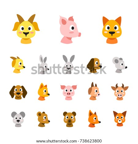 flat colored style animal faces