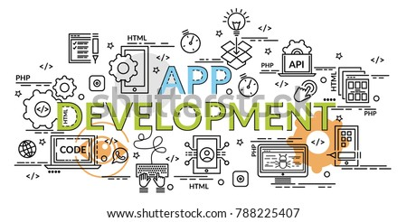 Flat colorful design concept for APP Development. Infographic idea of making creative products.