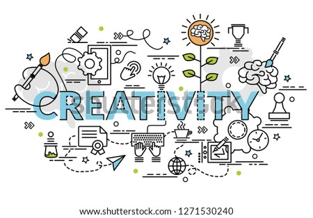 Flat colorful design concept for Creativity. Infographic idea of making creative products. Template for website banner, flyer and poster.