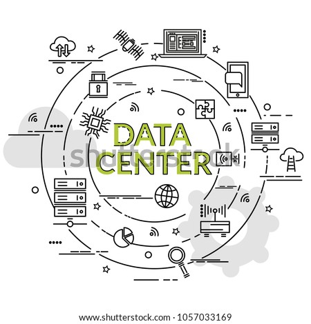 Flat colorful design concept for Data Center. Infographic idea of making creative products.Template for website banner, flyer and poster.