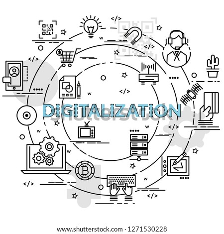 Flat colorful design concept for Digitilization. Infographic idea of making creative products. Template for website banner, flyer and poster.
