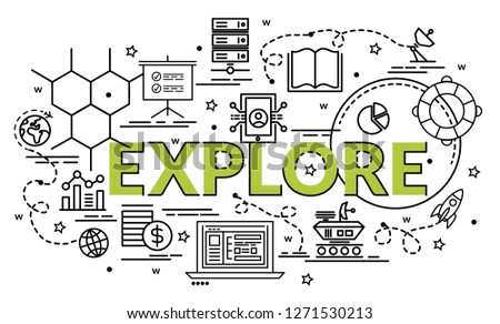 Flat colorful design concept for Explore. Infographic idea of making creative products. Template for website banner, flyer and poster.