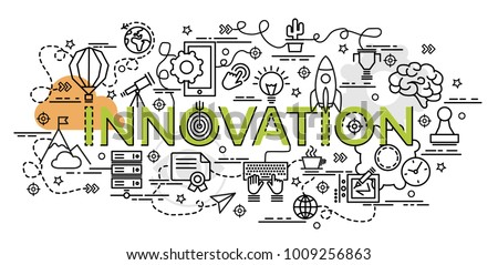 Flat colorful design concept for Innovation. Infographic idea of making creative products.