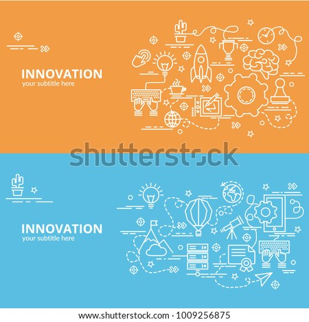 Flat colorful design concept for Innovation. Infographic idea of making creative products.Template for website banner, flyer and poster.