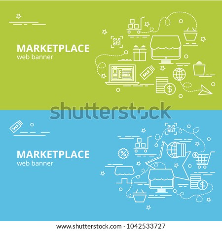 Flat colorful design concept for Marketplace. Infographic idea of making creative products.Template for website banner, flyer and poster.