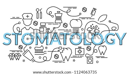 Flat colorful design concept for Stomatology. Infographic idea of making creative products.Template for website banner, flyer and poster.