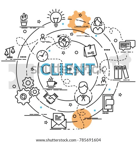 Flat colorful design concept of Client. Infographic idea of making creative products. Template for website banner, flyer and poster.