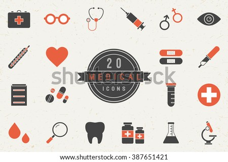 Flat colorful medical icon set in vintage style. Isolated medical icon set of medicine tools and services. Minimal vector medical icon set for web sites and apps.
