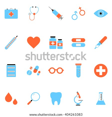 Flat colorful medical icon set of medicine tools and services. Isolated medical icon set on white background. Minimal vector medical icon set for web sites and apps.