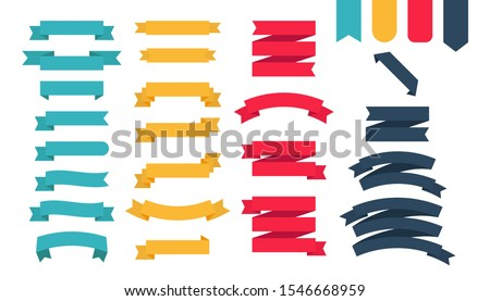 Flat colorful ribbons banners flat isolated on white background, Vector Illustration.