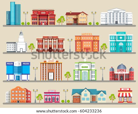 flat colorful vector city