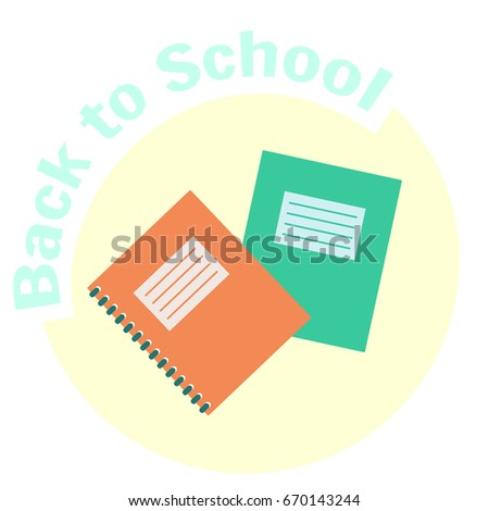 Flat colorful vector copy-book and exercise-book icon. School copy book, exercise book, notebook for classwork and homework. Education equipment symbol. Cute cartoon study symbol