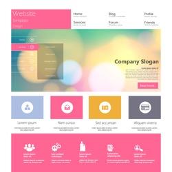 Flat Colorful Website Template Design