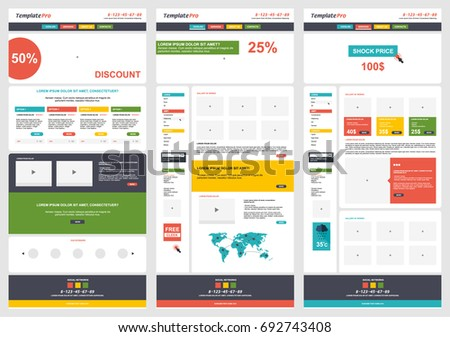 Flat Colorful Website Template Design. Electronic Learning