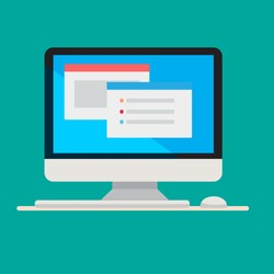 Flat computer design with keyboard and mouse on blue screen vector illustration.