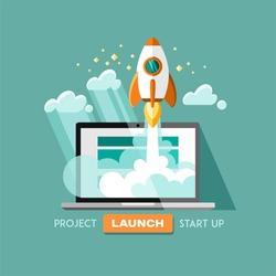 Flat concept background with rocket. Project start up - launch. Vector illustration.
