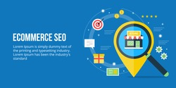 Flat concept for E-commerce SEO, local business SEO, on-line sales optimization vector banner with icons isolated on blue background