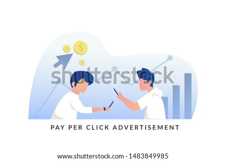 Flat concept for pay per click advertising vector illustration concept for web landing page template, banner, flyer and presentation