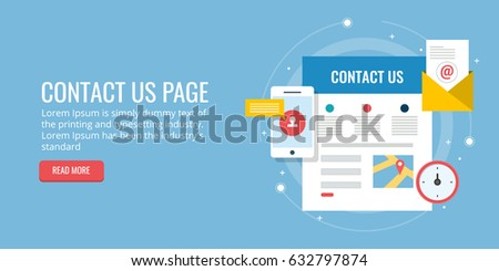 Flat concept of contact us page, website contact form, on-line inquiry, connect with audience vector banner isolated on blue background