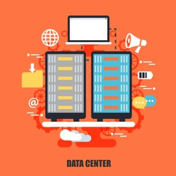 Flat concept of data center, cloud data technology services, cloud computing. Can be used for poster, banner, magazine, web design. Best solution for graphic designers. Vector illustration.