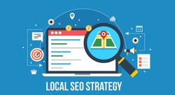 Flat concept of Local SEO strategy, optimization of local search results, with icons on blue background
